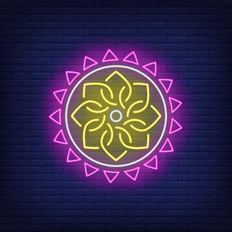 Enseigne au néon motif ethnique rond mandala