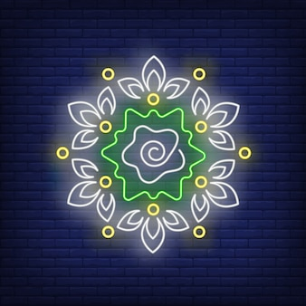 Enseigne au néon motif floral rond mandala