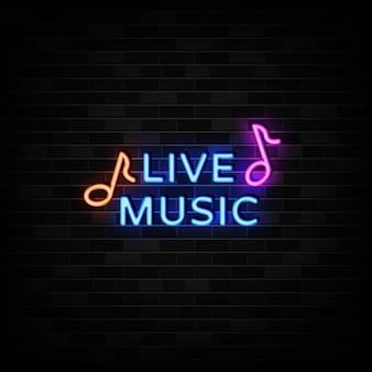 Enseigne au néon de musique live, style néon
