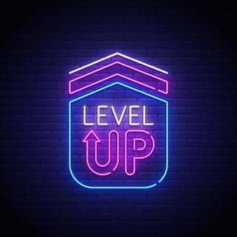 Enseigne au néon de niveau de jeu