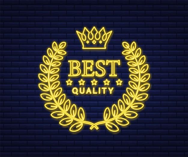 Enseigne au néon d'or de la meilleure qualité avec laurier. illustration vectorielle de stock.