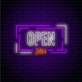 Enseigne au néon `` ouvert 24 heures ''