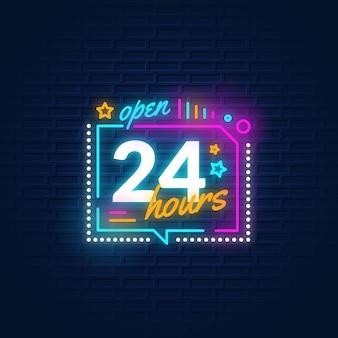 Enseigne au néon ouverte 24 heures de couleur