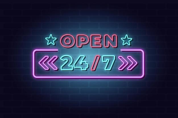 Enseigne au néon ouverte 24h / 24