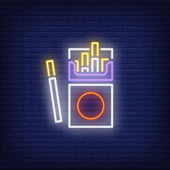 Enseigne au néon de paquet de cigarettes