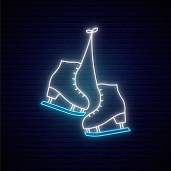 Enseigne au néon de patins.