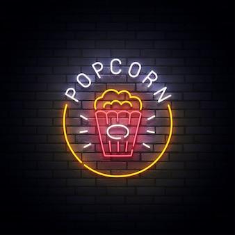 Enseigne au néon pop-corn, enseigne lumineuse, bannière lumineuse. logo de pop-corn néon, emblème. illustration