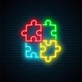 Enseigne au néon de puzzle