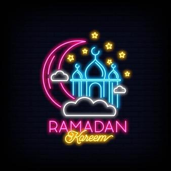 Enseigne au néon ramadan kareem avec lettrage et croissant de lune et étoiles