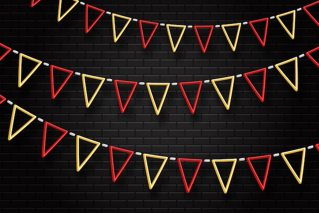 Enseigne au néon réaliste des drapeaux du parti pour la décoration et la couverture sur le fond transparent. concept d'anniversaire, de vacances et de célébration.