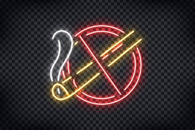 Enseigne au néon réaliste du logo no smoking pour la décoration de modèle et la couverture sur le fond transparent.
