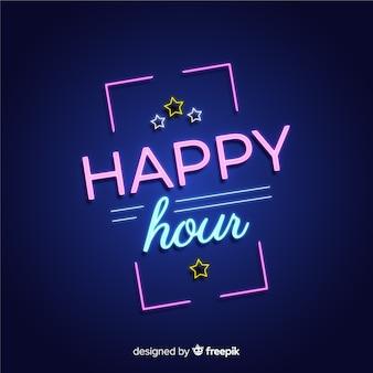 Enseigne au néon rectangulaire happy hour