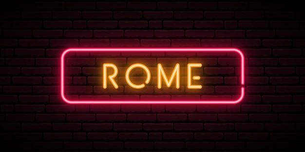 Enseigne au néon de rome italie