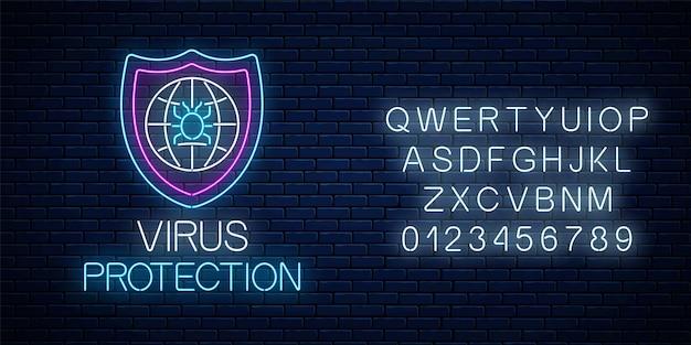 Enseigne au néon rougeoyante de protection contre les virus avec alphabet sur fond de mur de briques sombres. symbole de cybersécurité internet avec bouclier, globe et bogue de pirate informatique. illustration vectorielle.