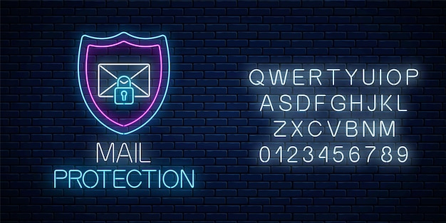 Enseigne au néon rougeoyante de protection des e-mails avec alphabet sur fond de mur de briques sombres. symbole de cybersécurité avec bouclier, lettre et cadenas. illustration vectorielle.