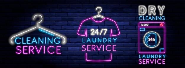 Enseigne au néon de service de nettoyage à sec