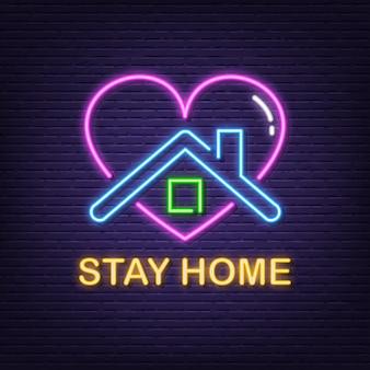 Enseigne au néon stay home