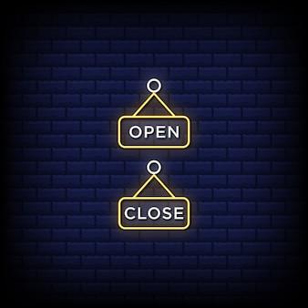 Enseigne au néon suspendue ouverte fermée