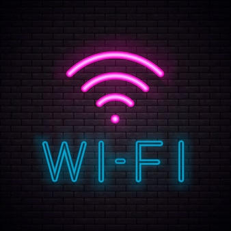 Enseigne au néon symbole wi-fi