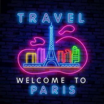 Enseigne au néon de tourisme. voyage néon. vecteur réaliste isolé néon de bienvenue à paris