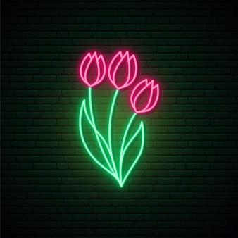 Enseigne au néon de tulipes rouges