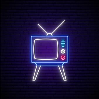 Enseigne au néon tv rétro.