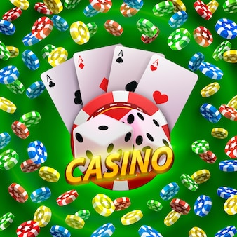 Enseigne de bannière de dés de casino sur fond. illustration vectorielle