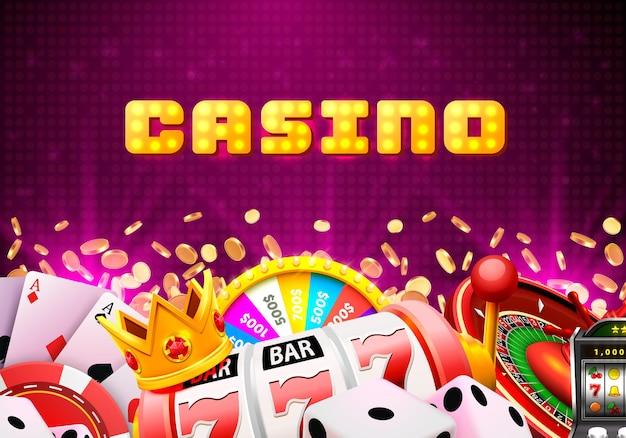 Enseigne De Bannière De Dés De Casino Sur Fond. Illustration Vectorielle Vecteur Premium