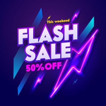 Enseigne de bannière flash sale neon night. remise publicité panneau d'affichage de barre électrique lueur