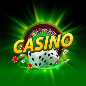 Enseigne De Bannière De Roulette De Dés De Casino Sur L'arrière-plan. Illustration Vectorielle Vecteur Premium