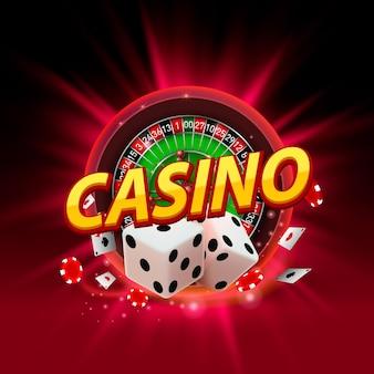 Enseigne de bannière de roulette de dés de casino sur l'arrière-plan. illustration vectorielle