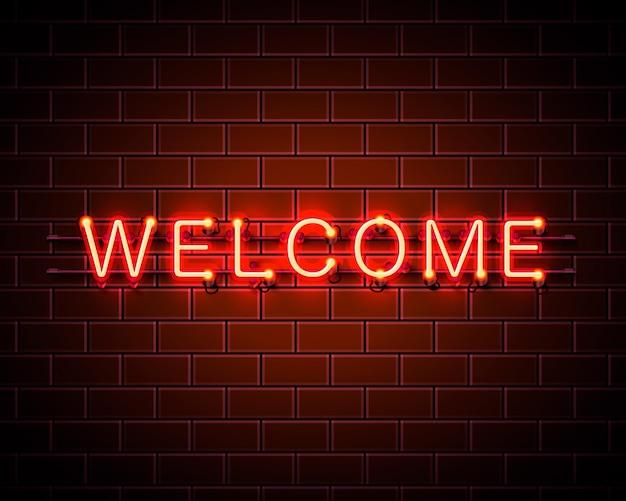 Enseigne de bienvenue au néon sur fond rouge. illustration vectorielle