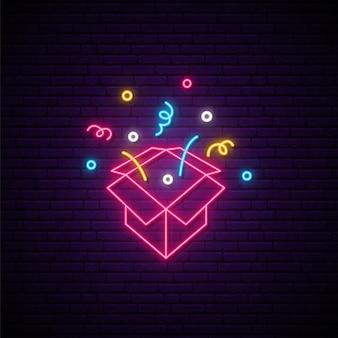 Enseigne de boîte cadeau au néon