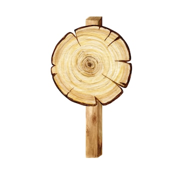 Enseigne de cercle en bois aquarelle, vide vide isolé.