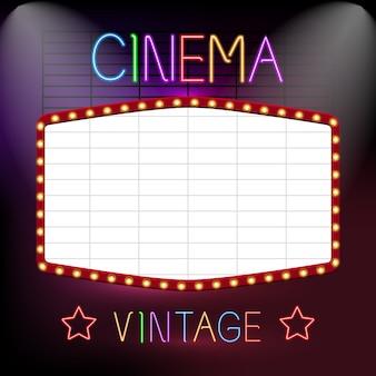 Enseigne de cinéma au néon