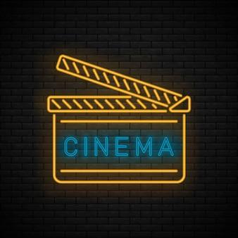 Enseigne cinéma nuit néon