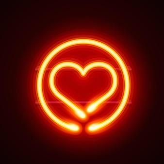 Enseigne coeur néon sur fond rouge. illustration vectorielle