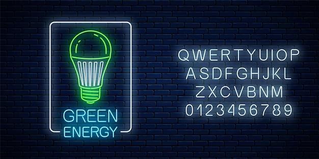Enseigne lumineuse au néon d'ampoule à led verte avec texte de conversation énergétique dans un cadre rectangulaire avec alphabet sur fond de mur de briques sombres. symbole de concept d'énergie écologique. illustration vectorielle.