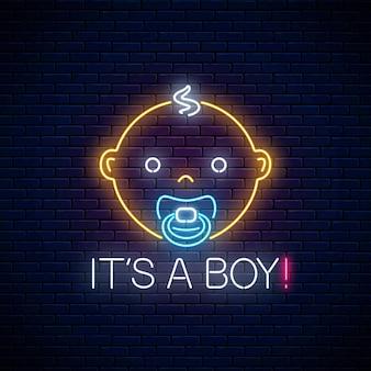 Enseigne lumineuse au néon de la célébration de la naissance d'un bébé sur fond de mur de briques sombres. enseigne de félicitations pour l'anniversaire de newbaby dans un style néon. illustration vectorielle.