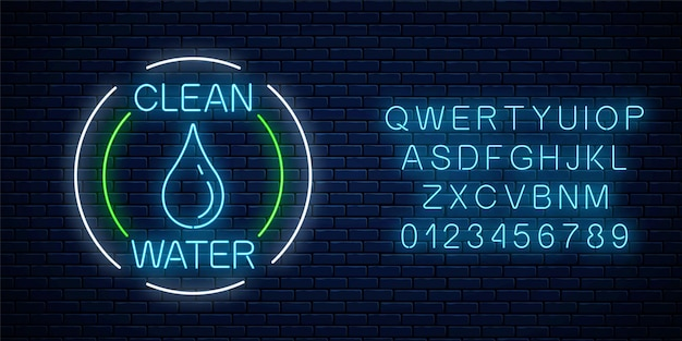 Enseigne lumineuse au néon d'eau propre avec goutte d'eau dans des cadres circulaires avec alphabet sur fond de mur de briques sombres. symbole de protection de l'environnement. illustration vectorielle. emblème de conservation de l'écologie au néon.