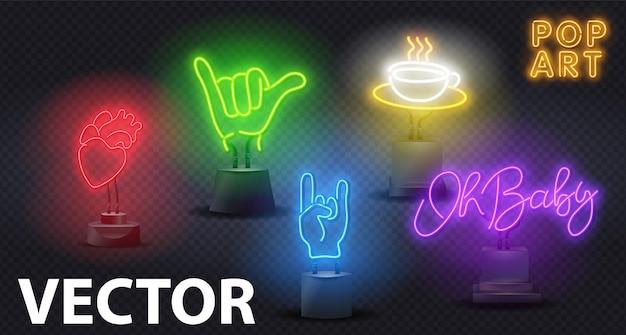 Enseigne lumineuse au néon pop art sur un support.