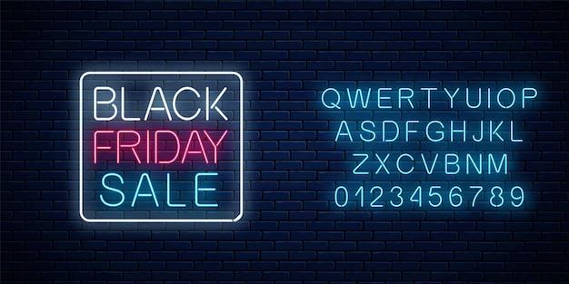 Enseigne lumineuse au néon de la vente du vendredi noir avec alphabet. bannière web de vente saisonnière. enseigne du vendredi noir