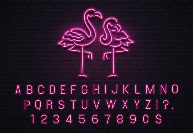 Enseigne néon flamingo, fonte rose des années 80