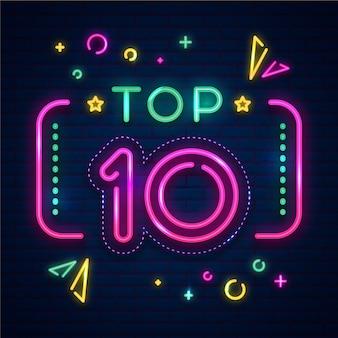 Enseigne néon top dix avec cadre rectangulaire
