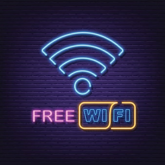 Enseigne néon wi-fi gratuite