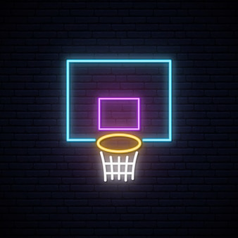 Enseigne de panier de basket-ball au néon