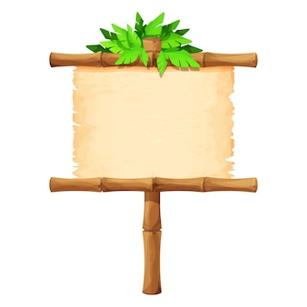Enseigne avec parchemin sur bâton de bambou décoré de feuilles tropicales en style cartoon