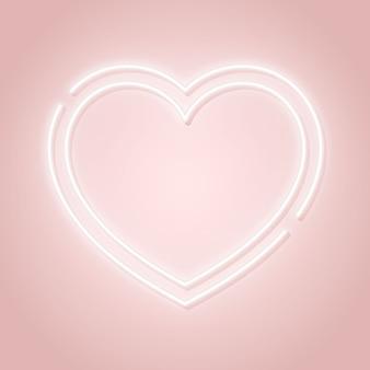 Enseigne rose de la saint-valentin avec la silhouette du coeur lumineux