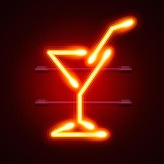 Enseigne de signe de ville de cocktail au néon, illustration vectorielle
