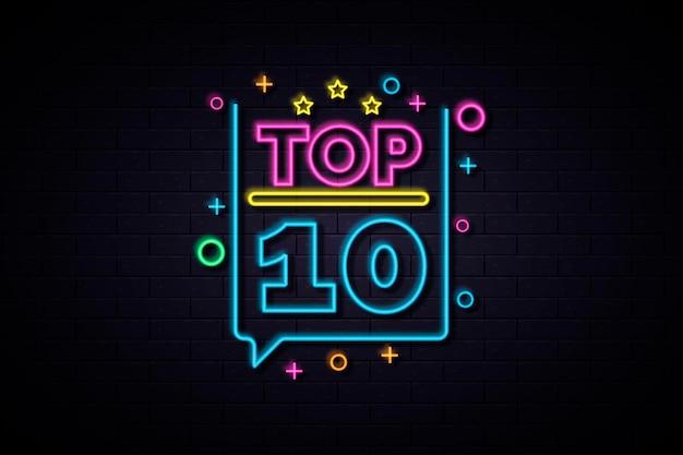 Enseigne top dix néon coloré brillant